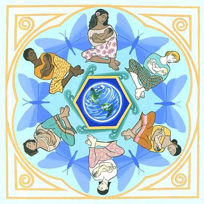 'mothering' Mandala Art Print by Karen MacKenzie