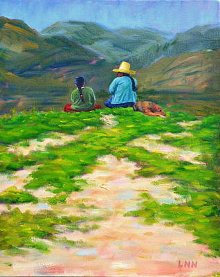 Painting - Motherly Advice, Peru Impression by Ningning Li