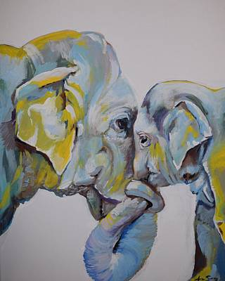 India Wildlife Painting - Motherly Elephant  by Anne Seay