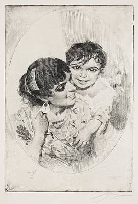 Drawing - Motherly Happiness by Anders Zorn
