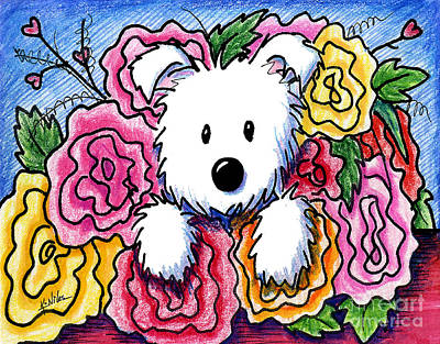 White Terrier Drawing - Mothers Day Bouquet by Kim Niles