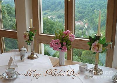 Rothenburg Photograph - Mother's Day Card - German Cafe by Carol Groenen