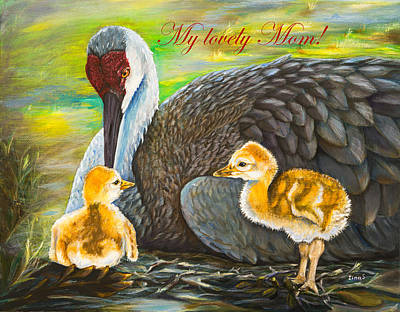 Crane Painting - Mother's Day Card by Zina Stromberg