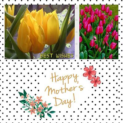Mixed Media - Mother's Day Tulips by Joan-Violet Stretch