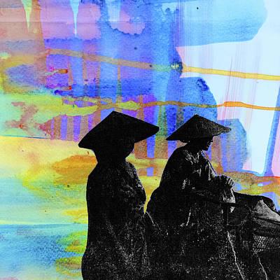 Mixed Media - Mothers In Thailand by Daniel De Blasio