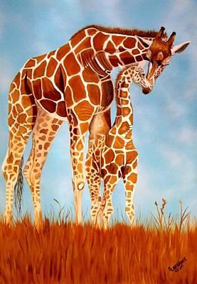 Serengeti Painting - Mothers Love by Debbie LaFrance