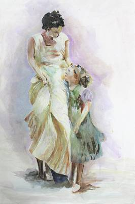 Painting - Mothers Love by Khalid Saeed