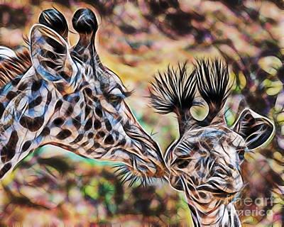 Giraffe Mixed Media - Mothers Love by Marvin Blaine
