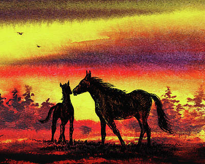 Painting - Mother's Love - Two Horses by Irina Sztukowski