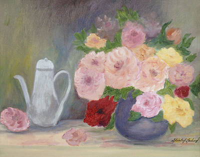 Mother's Roses Art Print by Shirley Lawing