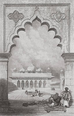 Temple Drawing - Moti Musjid Or Pearl Mosque by David Roberts