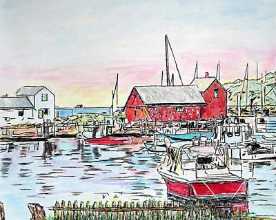 Drawing - Motif #1 Rockport, Massachusetts by Michele Loftus