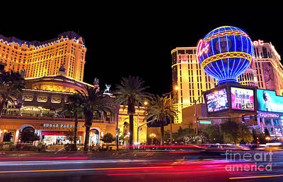 Photograph - Motion On The Strip At Night by John Rizzuto