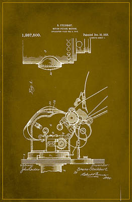 Motion Picture Machine Patent Drawing 1a Art Print