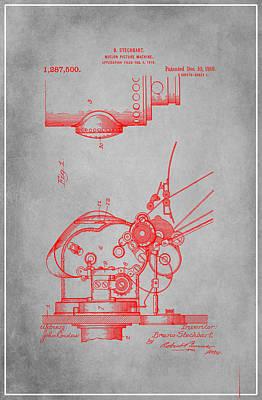 Motion Picture Machine Patent Drawing 1e Art Print