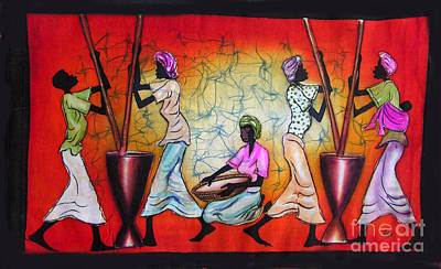 African Village Scene Painting - Motions by Ted Samuel Mkoweka