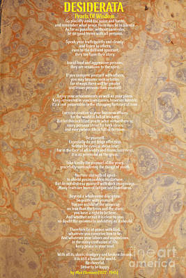 Motivational - Desiderata - Pearls Of Wisdom Art Print by Celestial Images