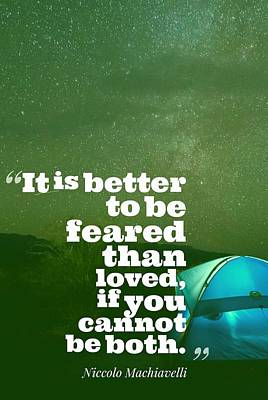 Motivational Inspiring Quotes, Designed By Asar Studios  - Niccolo Machiavelli 2 Art Print