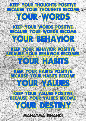 Adam Asar Painting - Motivational Quotes - Keep Your Words Positive - Ghandi by Adam Asar