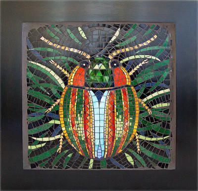 Mosaic Mixed Media - Motley Beetle by Liliia Iurlova