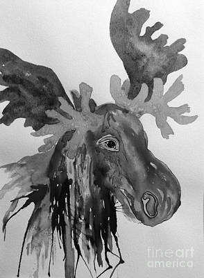 Noir Digital Art - Motley Moose Head Noir by Ellen Levinson