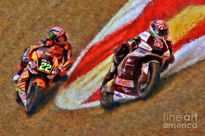 Moto2 Johann Zarco Leads Sam Lowes Art Print