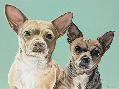 Chihuahua Portraits Painting - Moto And Rocko by Nathan Rhoads