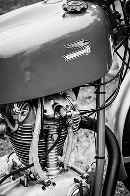 Bicycle Photograph - Moto Ducati Motorcycle -2115bw by Jill Reger