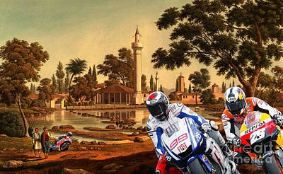 Bike Painting - Moto Gp, Motorcycle Race On An Old Painting by Pablo Franchi