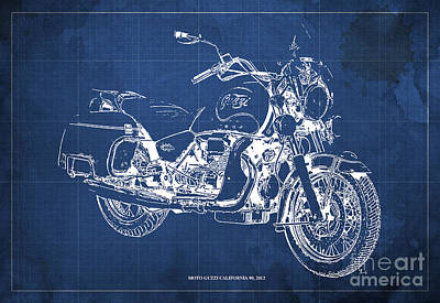 Garage Mixed Media - Moto Guzzi California 90  2012 Blueprint by Pablo Franchi