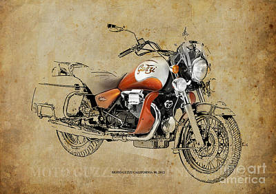 Lovers Artwork Drawing - Moto Guzzi California 90 2012 by Pablo Franchi