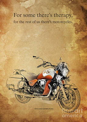 Motorcycle Drawing - Moto Guzzi California 90 Quote by Pablo Franchi