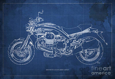 Vespa Mixed Media - Moto Guzzi Griso1200 8v Motorcycle Blueprint, Blue Background by Pablo Franchi