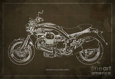 Oldschool Digital Art - Moto Guzzi Griso1200 8v Motorcycle Blueprint, Brown Background by Pablo Franchi