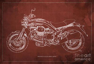 Oldschool Digital Art - Moto Guzzi Griso1200 8v Motorcycle Blueprint, Red Background by Pablo Franchi