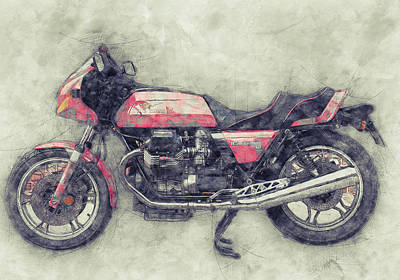 Royalty-Free and Rights-Managed Images - Moto Guzzi Le Mans 1 - Sports Bike - 1976 - Motorcycle Poster - Automotive Art by Studio Grafiikka