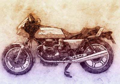 Mixed Media Rights Managed Images - Moto Guzzi Le Mans 2 - Sports Bike - 1976 - Motorcycle Poster - Automotive Art Royalty-Free Image by Studio Grafiikka