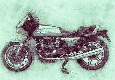 Mixed Media Rights Managed Images - Moto Guzzi Le Mans 3 - Sports Bike - 1976 - Motorcycle Poster - Automotive Art Royalty-Free Image by Studio Grafiikka