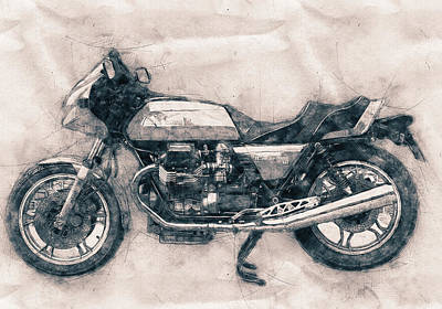 Royalty-Free and Rights-Managed Images - Moto Guzzi Le Mans - Sports Bike - 1976 - Motorcycle Poster - Automotive Art by Studio Grafiikka