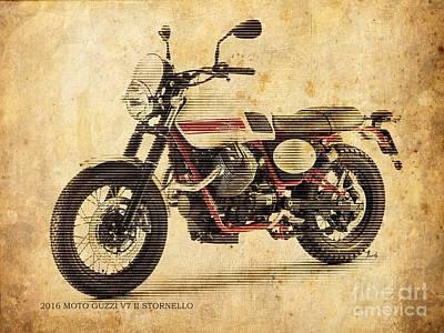 Thomas Kinkade - Moto Guzzi V7 II Stornello vintage poster by Drawspots Illustrations