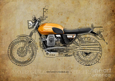 Bike Drawing - Moto Guzzi V7 Scrambler 2012 by Pablo Franchi