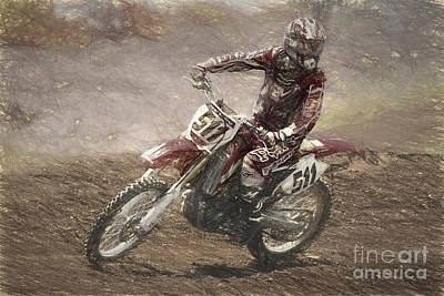 Mixed Media - Motocross by Cecil Fuselier