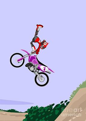 Motocross Rider Dressed In Red And Black Performing A Somersault On A Dirt Track Art Print