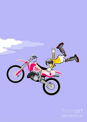 Motocross Rider Flying High After A Big Jump With His Motorbike Art Print