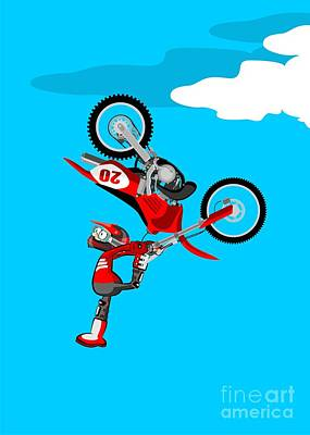 Motocross Rider In Spectacular Acrobatic Jump With His Red Bike Art Print