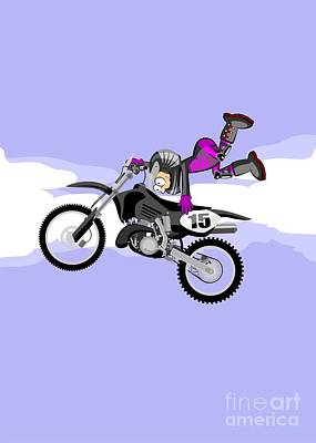 Bike Digital Art - Motocross Rider Jumping Freestyle Standing Hands On The Seat Of His Black Motorbike by Daniel Ghioldi