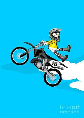 Motor Digital Art - Motocross Rider Jumping In Freestyle Spinning And With His Back To The Handlebar For A Risky Pirouet by Daniel Ghioldi