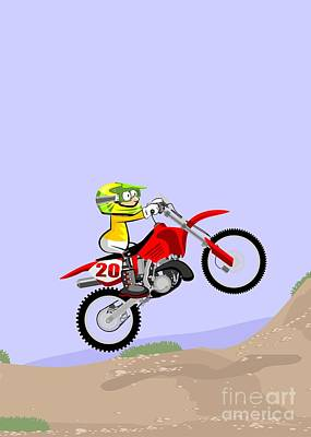 Motor Digital Art - Motocross Rider Running A Race On Dirt Track With His Red Motorcycle by Daniel Ghioldi