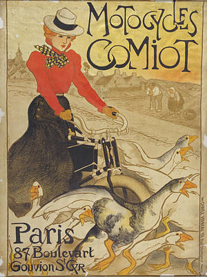 Steinlen Drawing - Motocycles Comiot by Celestial Images