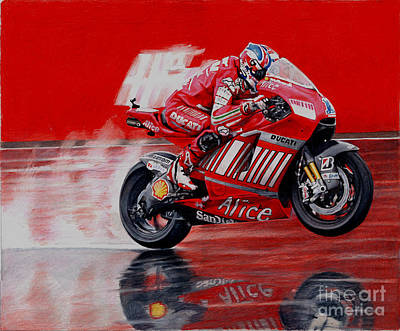 Pencil Drawing Mixed Media - motoGP alice ducati by Raoul Alburg